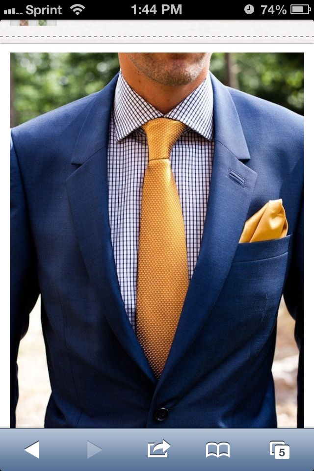 Navy Suit with Yellow Tie  Wedding Day  Fashion Mens