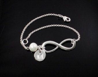 set de regalo de la Dama de honor de 1234567Infinity pulsera, pulseras de la perla, pulsera personalizado, inicial pulsera, pulsera de la perla, pulsera de Dama de honor