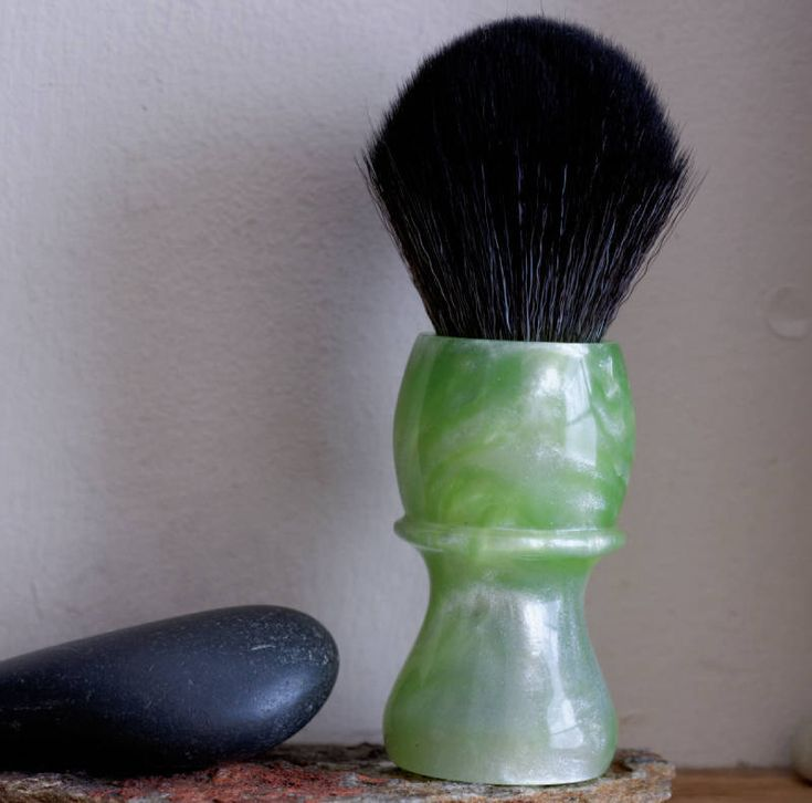 Shaving Brush - Hand-Made with hand-poured Jade and Silver Resin Handle and a Choice of Knots by LoveYourShave on Etsy