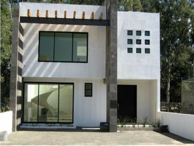 7 metros de frente acabados minimalistas blanco cantera - Puertas de cochera ...