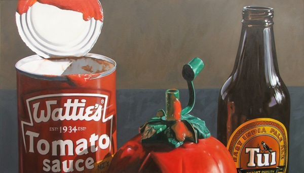 'essentials for the bbq' oil on canvas 1200mm x 652mm sold by Matt Guild, a New Zealand artist.