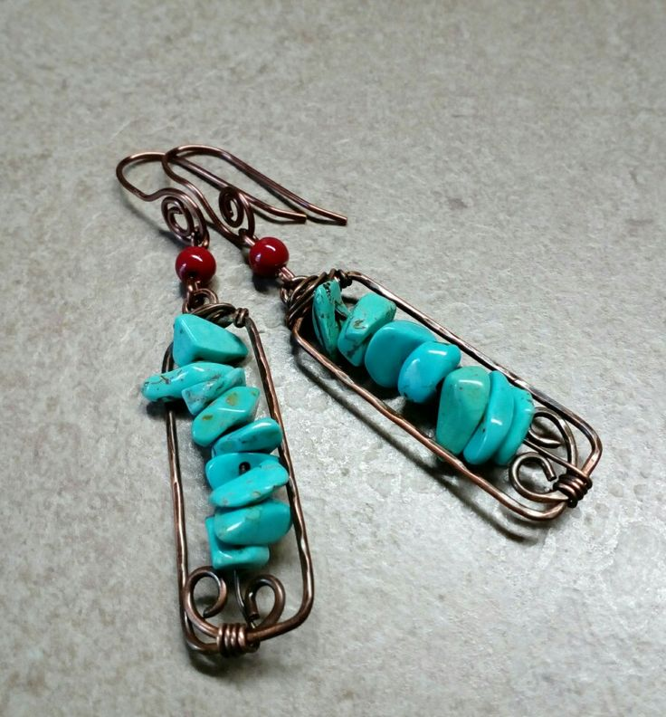 #279 Σκουλαρίκια με τιρκουάζ σε χαλκό / copper earrings with turquiose
