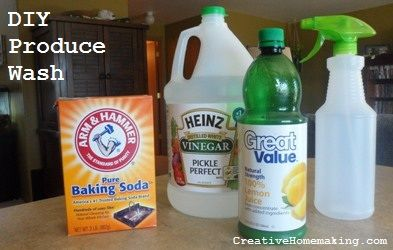This DIY produce rinse is all natural, inexpensive, and works great to remove insecticides and fertilizers from all fruits and vegetables.
