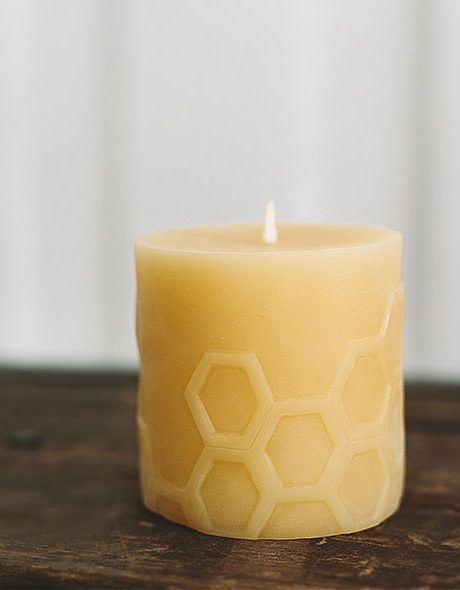 Dancing Hexagon Design Beeswax Candles made with 100% pure wax designed by Bees Wax Works