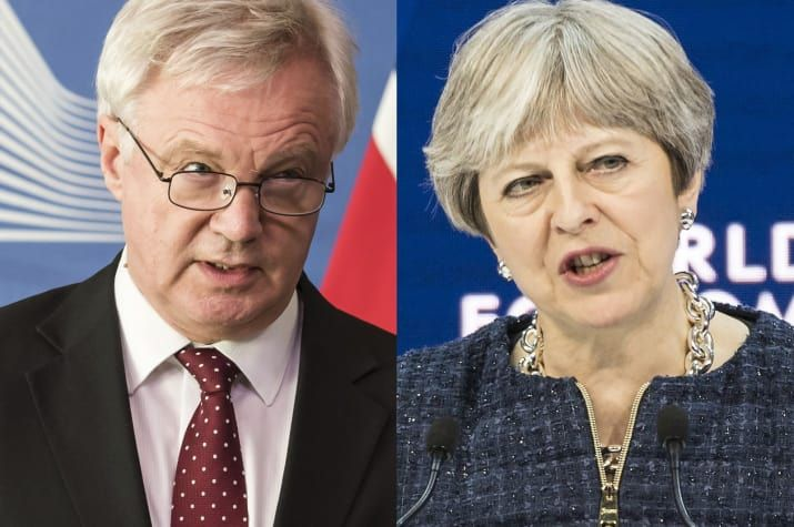 David Davis and Theresa May.  The government's new analysis of the impact of Brexit says the UK would be worse off outside the European Union under every scenario modelled, BuzzFeed News can reveal.