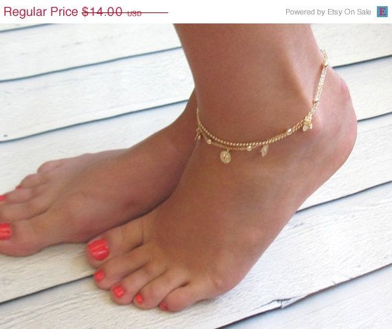 anklet beads row chain women dp bracelet com grind pendants adjustable amazon foot arenaceous womens bead gold jewelry real s plated double