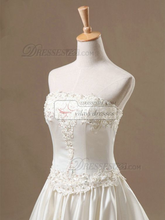 100% Tailor-Made A-line Tube Top Cut Flowers Cathedral Train Satin Appliques Wedding Dresses With Beading Free Shipping Price: US $ 629 - VILAVI Dresses