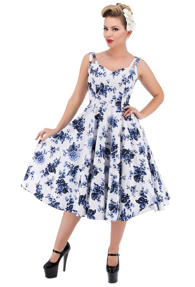 Hearts and Roses London - [Arriving Soon] H&R Blue Rosaceae Dress