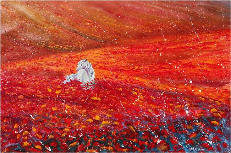 Large Wild Horse Painting - In Red Poppies