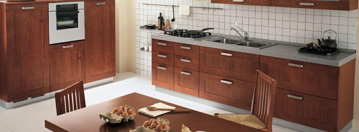 #Cherry #Contemporary Una cucina dallo stile rassicurante. Intramontabile; il telaio in legno e la finitura in ciliegio ne fanno un classico dell'arredamento. Riscalda l'ambiente e lo rende confortevole.