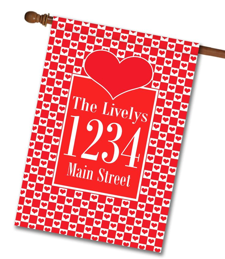 """Checkered Hearts - Text Box - Address House Flag 28"""" x 40"""" Flag stand sold separately Proudly Printed in the USA Vibrant colors printed on a poly/cotton outdoor quality fabric. Digitally printed on both sides of the fabric. Two fabric options given at checkout. Ships in 5 days or less!"""