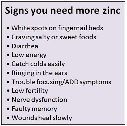 zinc deficiency symptoms - Google Search