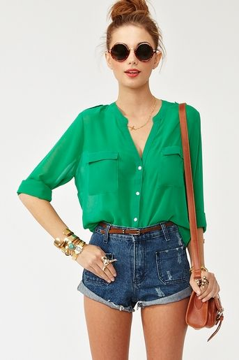 kelly green chiffon blouse and high waisted jean shorts