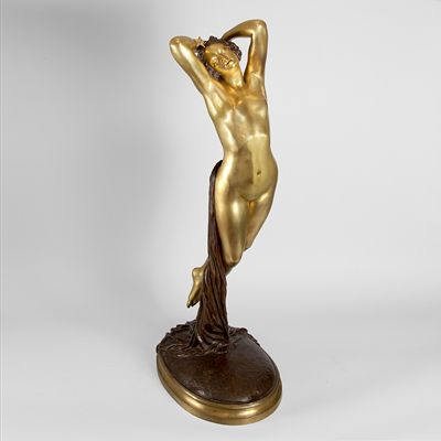 """Bronze Sculpture titled """"Une Heure de la Nuit"""", by Joseph Pollet  A French Art Nouveau gilt bronze sculpture entitled """"Une Heure de la Nuit"""", by Joseph Pollet. This model is understandably one of the artist's most celebrated works. """"Une Heure de la Nuit"""" was first exhibited in plaster at the Salon of 1848 and a marble version was soon after commissioned by the French Ministry of the Interior"""
