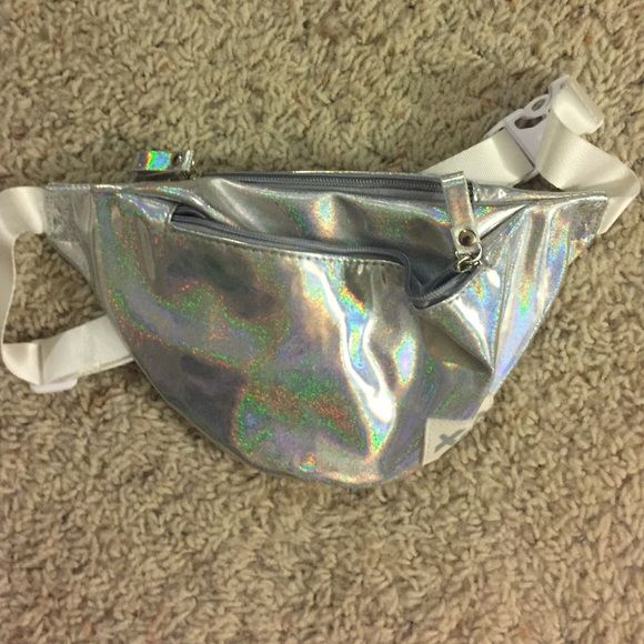 Holographic fanny pack Perfect for raves never used, NOT AMERICAN APPAREL JUST USED FOR EXPOSURE American Apparel Bags Travel Bags