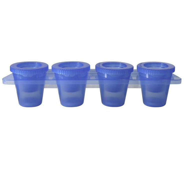 The Ice Shooter Tray from Epicureanist makes four ice cube shot glasses at once. Simply add water or your favorite non-alcoholic beverage to the tray, freeze and remove four fully-formed frozen shot glasses.