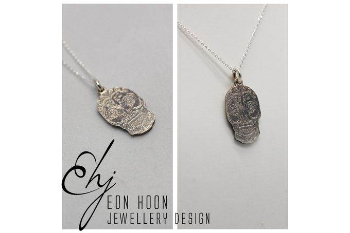 Small Etched Sugar Skull Pendant by Eon Hoon Jewellery Design