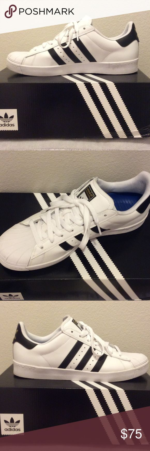 Adidas Superstar Vulc Adv Skateboarding Adidas number one brand of sneakers, this pair new NWT...  accompanied by original box. Adidas Shoes Sneakers