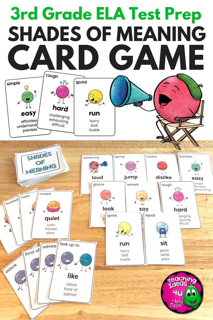 Shades of Meaning Card Game - Your 3rd & 4th graders can review shades of  meaning families while playing this easy to play card game!