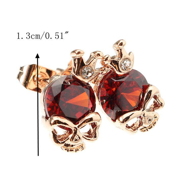 Punk Skull Crown Ear Stud Exquisite Zinc Alloy Rhienstone Earrings for Women