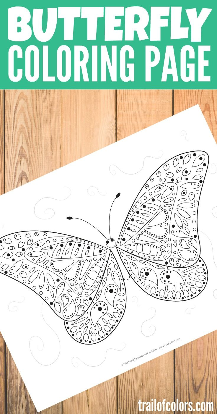 Butterfly coloring pages on pinterest - Free Printable Butterfly Coloring Page
