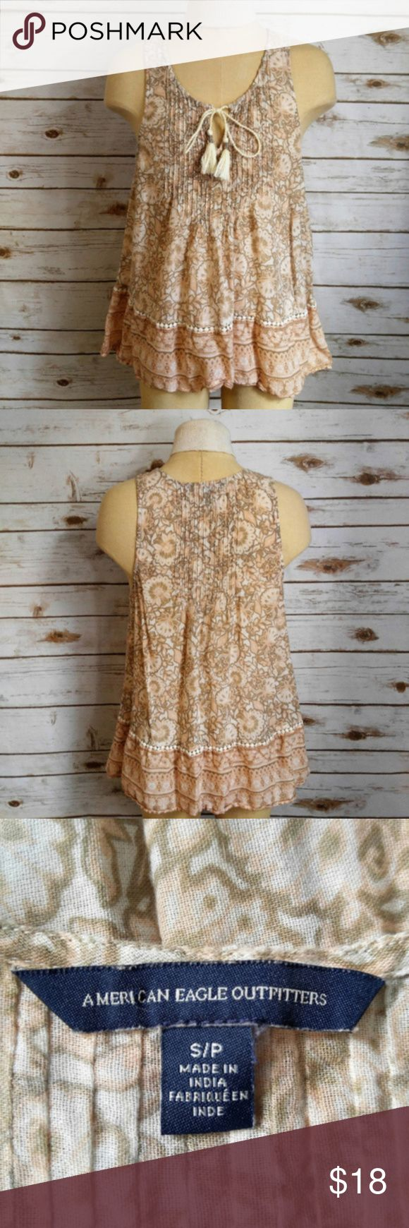 """AEO Cream Floral Cotton Boho Tank Top American Eagle Outfitters Cream Floral Cotton Boho Tank Top Materials: 100% Cotton Size: Small Measurements Laid Flat Bust: 18"""" Length: 23"""" Feel free to ask any questions, I can get back to you within 24 hours. American Eagle Outfitters Tops Tank Tops"""