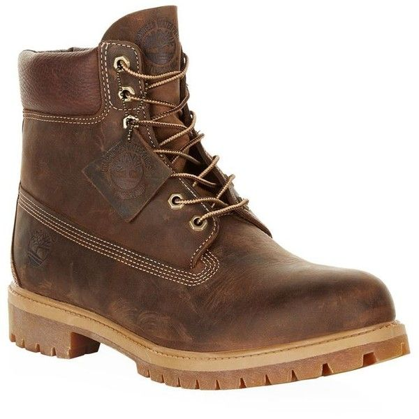 Timberland Premium Icon Boots ($240) ❤ liked on Polyvore featuring men's fashion, men's shoes, men's boots, mens waterproof leather boots, mens waterproof boots, mens leather shoes, timberland mens boots and mens waterproof shoes