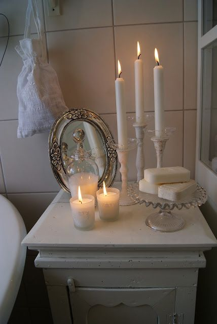 relaxing bath  /////   I like this very much.  Lovely white with charming accents