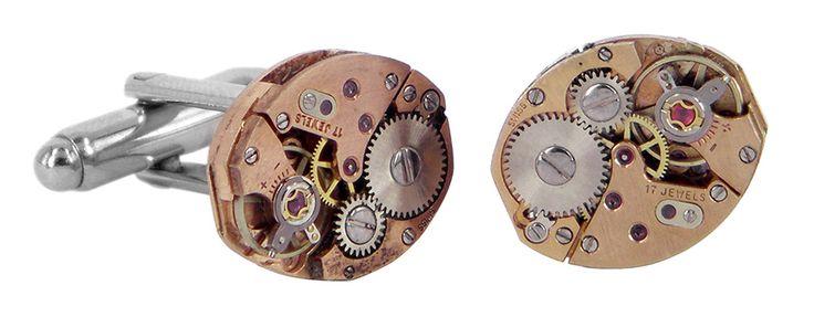 Gold jewels watch movement cufflinks