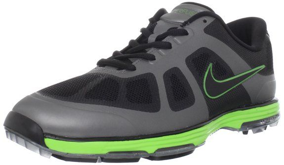 Hyperfuse technology on these lunar ascend golf shoes by Nike combines synthetics, mesh and tpu
