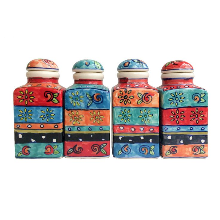 Four cheerful and colourful hand painted ceramic spice jars. Hand made by a small producer in India and sourced direct by Present Company to our ethical values. Buy online now!