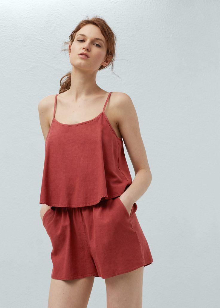 Strap linen-blend jumpsuit   MANGO