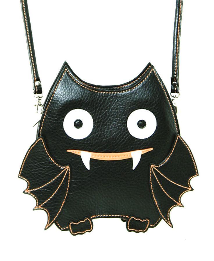 Cute Little Spooky Vampire Bat Black Bag Purse
