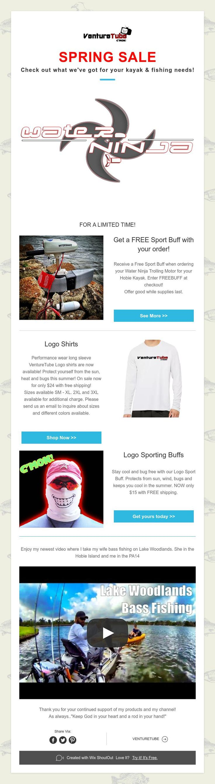 SPRING SALE  Check out what we've got for your kayak & fishing needs!