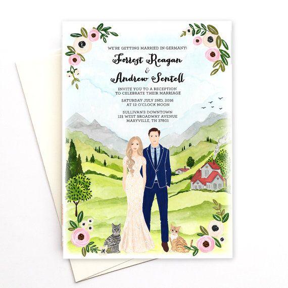 Aangepaste bruiloft illustratie uitnodiging van easyprintPD op Etsy