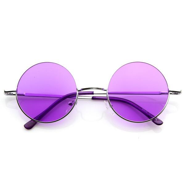 Retro Hippie Fashion Metal Lennon Round Sunglasses Color Lens 8594