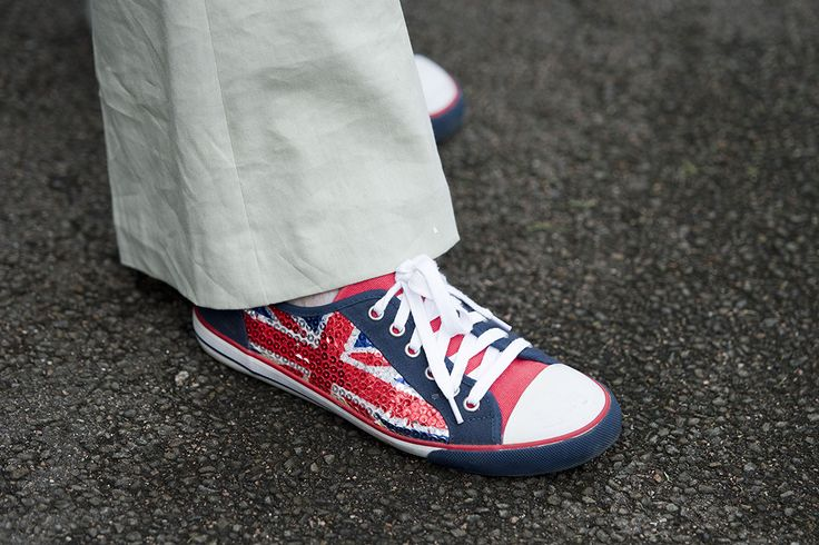 Theresa May a definitely a sporty side – although a patriotic one. Here, she wore a pair of Union Flag sequinned sneakers at the Team GB Olympic Rowers Homecoming Parade in 2012.