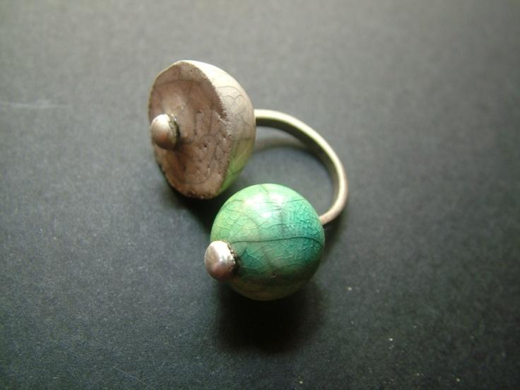 raku ceraic and sterling silver ring