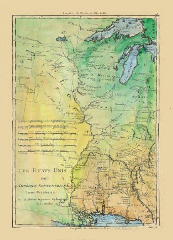 Les Etats UNIS (The United States) L'Amerique Septentrionale  Partie Occidentale  Par (by) M. BONNE  Ingenieur Hydrographe de la Marine.