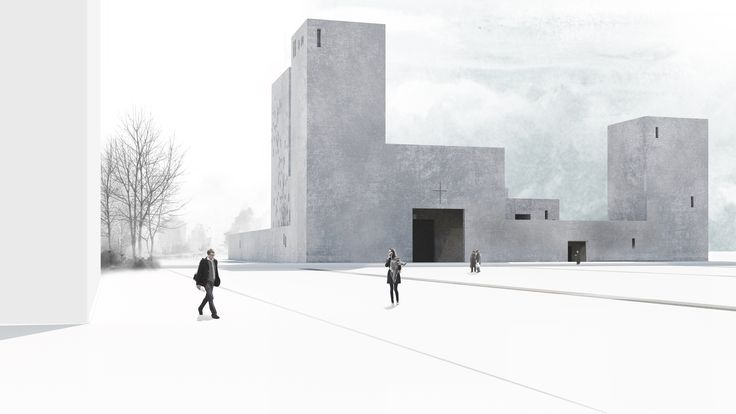 Visualization. Project of church in Wroclaw, Poland. Competition entry. Nowe Żerniki estate. Third prize.  https://www.behance.net/gallery/48897025/Competition-entry-Church-in-Wroclaw-Third-prize Authors: OVO Grabczewscy Architekci Marta Lata Dobrochna Lata Mateusz Pietryga Łukasz Migała