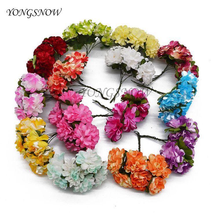144 stks/partij 3 cm diameter kunstmatige papier chrysant boeket voor wedding decoratie diy kransen gift craft levert 8z
