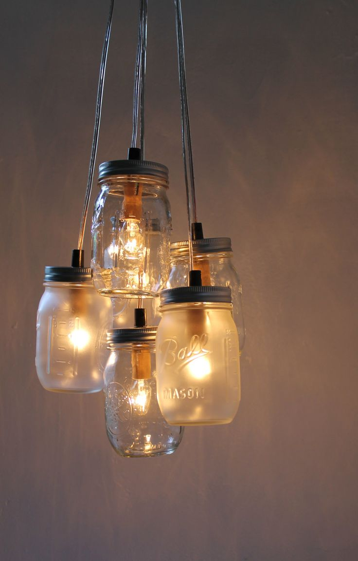 Misty Morning - Mason Jar Chandelier - Upcycled Hanging Pendant Lighting Fixture ready for Direct Hardwire - Modern Home Lamp by BootsNGus. $140.00, via Etsy.