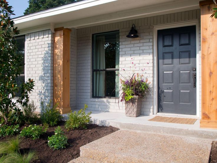 Front Porch Post Ideas Also Brick Paint Color And Outdoor