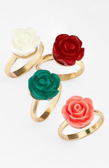 Topshop Flower Midi Rings (Set of 4)