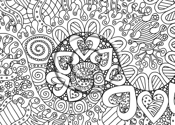 Instant PDF Digital Download Coloring Page Hand Drawn Zentangle Inspired Psychedelic Waves Of Love Hippie Abstract Zendoodle Doodle By Kat