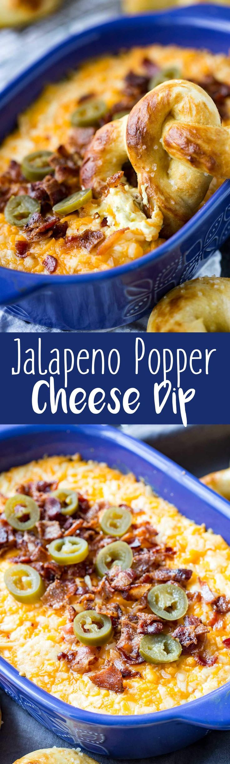 Baked Bacon Cheddar Jalapeno Popper Cheese Dip with Buttery Soft Pretzels #ad #Tailgreatness @walmart