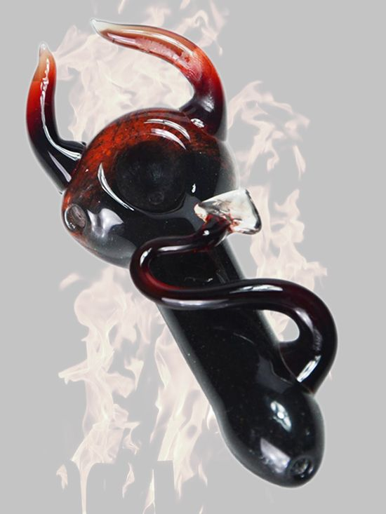 """The Prince of Darkness, Satan, and Lucifer are all names given to the demonic ruler of the underworld, more simply known as """"The Devil."""" The Devil's Pipe allows you to sinfully partake in your favorite herb with it's traditional spoon design, and deep bowl.   #princeofdarkness #devil #satan #horns #handpipe #glass #art #forsale"""