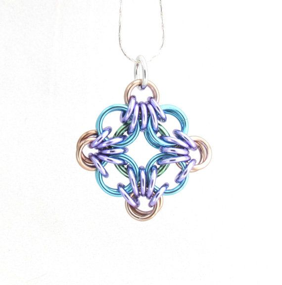 Chainmaille Pendant Jump Ring Jewelry Pastel by XairianMaille, $17.00