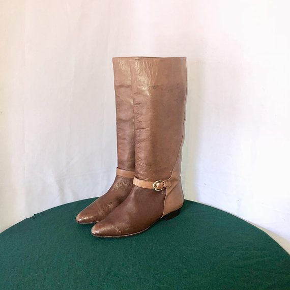 3373abba42018 Sz 10 M Vintage Tall Two Tone Brown Genuine Leather 1980s Women Flat ...