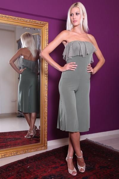 conDiva Olive green Jersey Strapless Jumpsuit #tangoattire #tangooutfit #tangoclothes #argentinetango